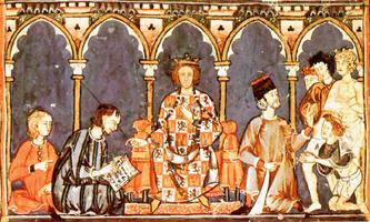 Alfonso X El Sabio en su corte (s. XIII)